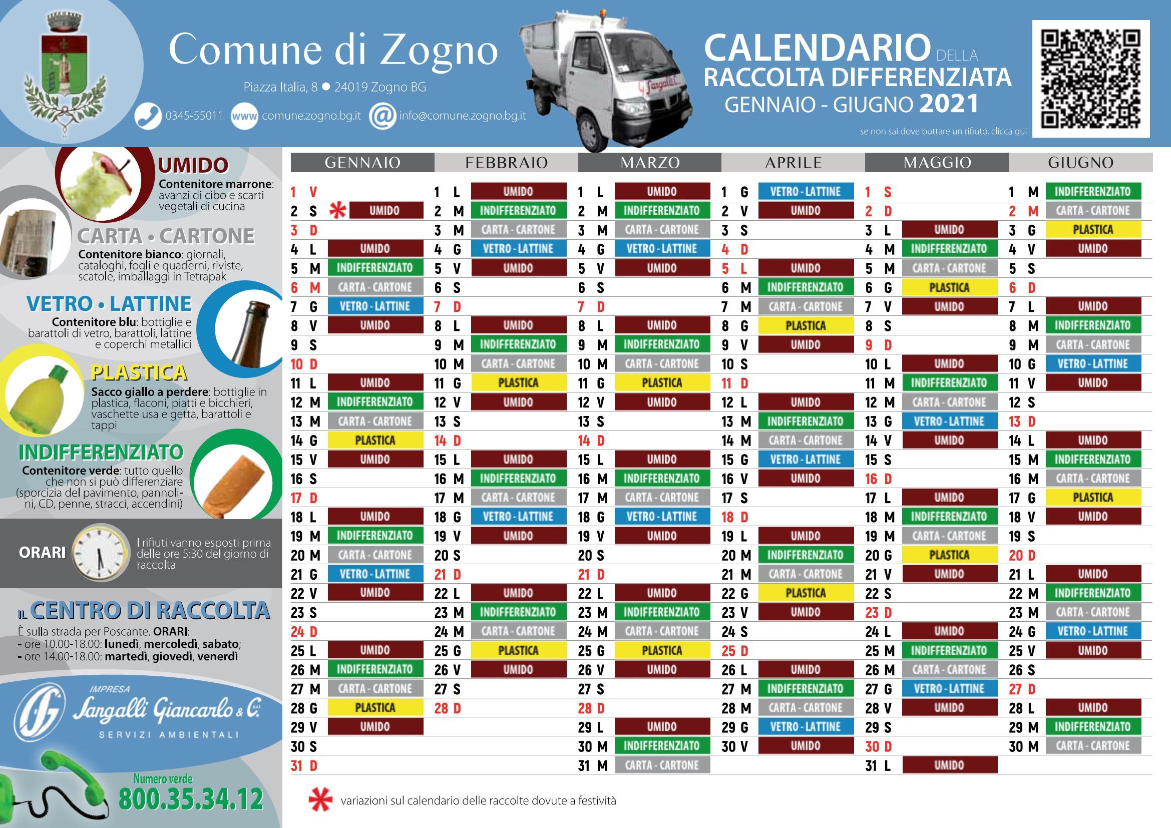 Comune di Zogno: Calendario raccolta differenziata per l'anno 2021